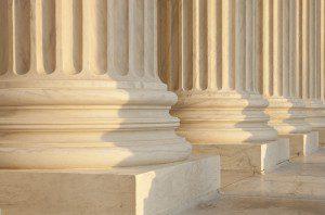 US Supreme Court Architecture Detail. Critical focus on middle p