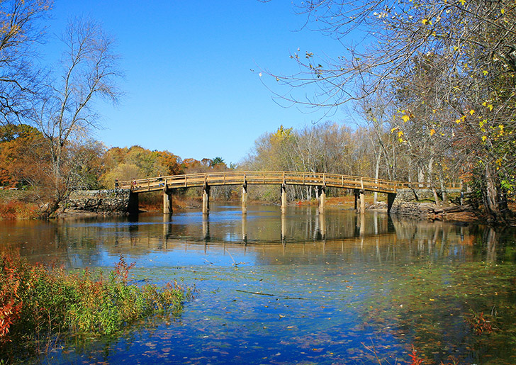 Scenic view of the Old North Bridge in Concord Massachusetts where the shot heard 'round the world was fired!