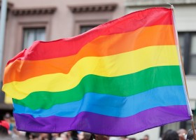 Rainbow Flag on the Pride Parade in New York City