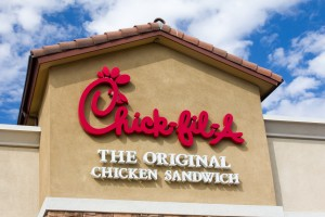 VALENCIA, CA/USA - SEPTEMBER 8, 2014: Chick-fil-A restaurant exterior. Chick-fil-A is fast food restaurant chain specializing in chicken sandwiches.