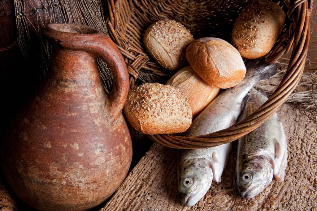 The multiplying miracles bread fish wine and quail for Loaves and fish