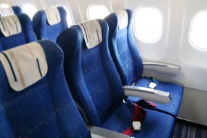 seat rows in an airplane cabin interior