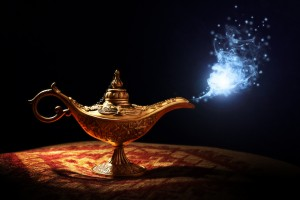 Magic lamp from the story of Aladdin with Genie appearing in blu