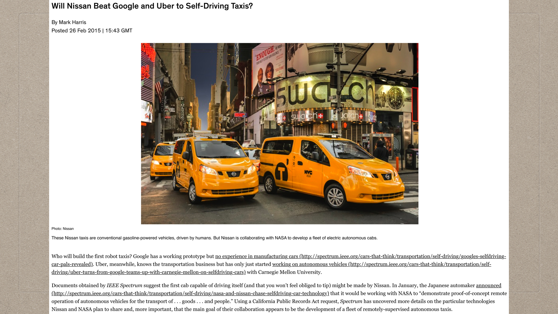 02-05-Nissan, Google, Uber