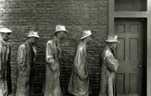 A line of sculptures at the Franklin Roosevelt Memorial in Washington DC. The statues are presenting the reality of the Great Depression. ** Note: Slight blurriness, best at smaller sizes