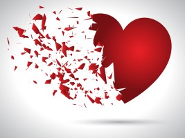 Exploding heart background for Valentine's Day