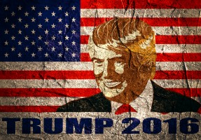 January 18 2016: An illustration of a portrait of Republican Presidential Candidate Donald Trump on national flag background textured by concrete wall surface