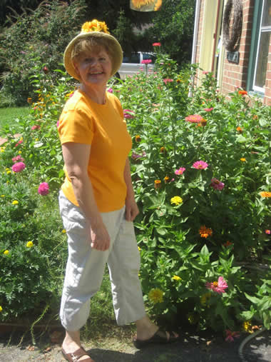 Carolyn with zinnias