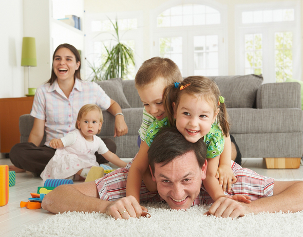 happy family on floor
