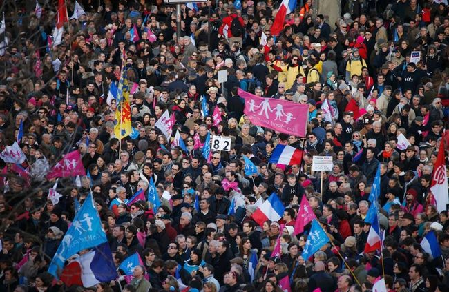Hundreds of thousands rallied in France against same-sex marriage.