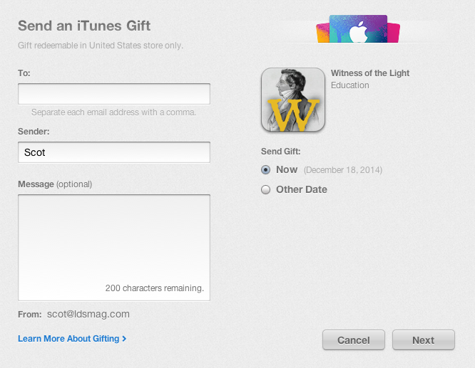Gift Screen Share Witness