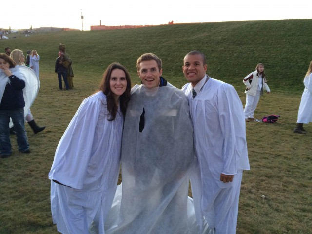 """Andy Proctor poses with Dawn Armstrong and her son Anthony from """"Meet the Mormons."""""""