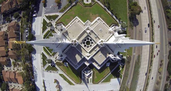 Drone view of San Diego temple.