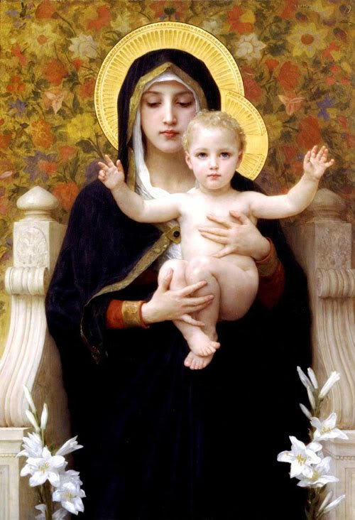 """""""The Virgin of the Lilies"""" by William Bouguereau (1899)"""