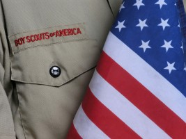 boy scout uniform and united states flag