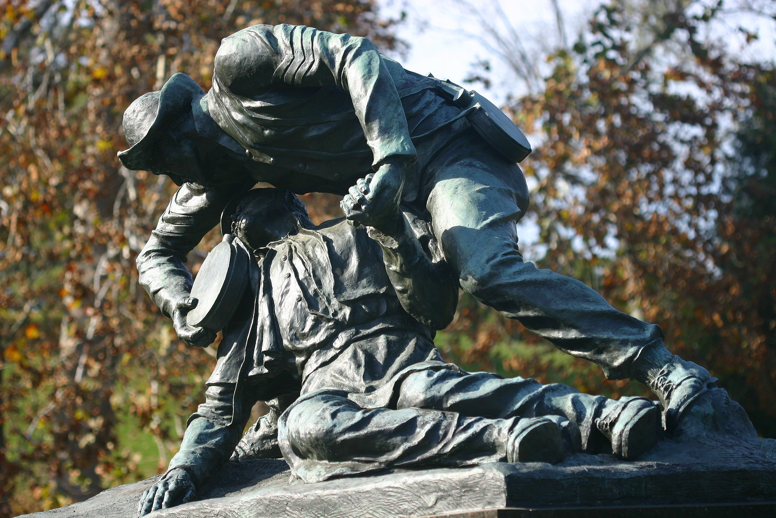 A monument to honor Richard Rowland Kirkland, a Confederate soldier who fought at Fredricksburg, Virginia who left his place of safety to comfort wounded Union soldiers.
