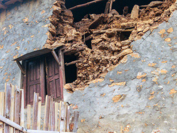 KOT DANDA, LALITPUR, NEPAL - MAY 2, 2015: Damaged house after th