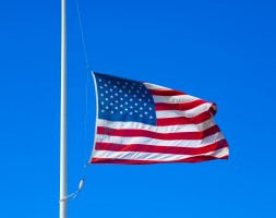 United states flag flying at half staff