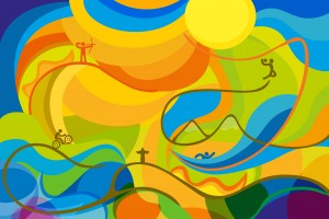 Rio 2016 abstract colorful background. Summer color of Olympic games 2016 wallpaper. Summer Sport Brazil background. Vector template for backgrounds cards web and journals. Athletes icon.