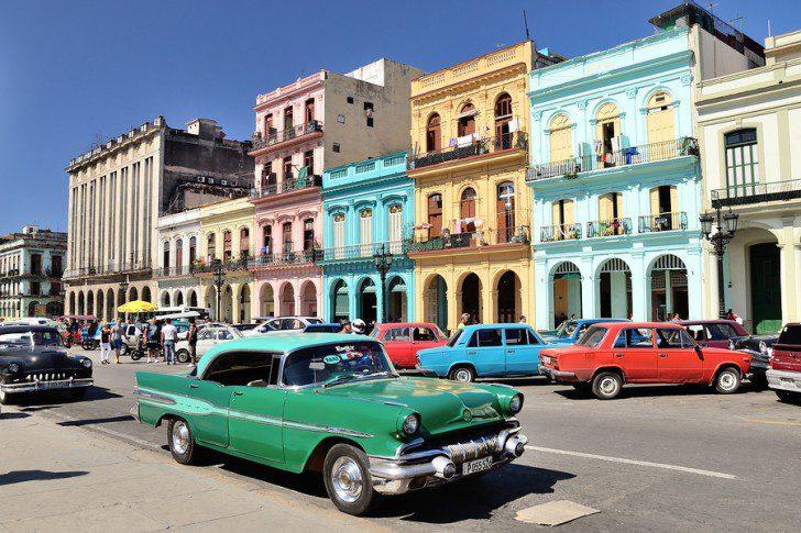 HAVANA, CUBA - MAY 5, 2014. Green retro car on the street in the center of Havana, Cuba.