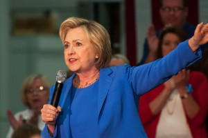 Louisville Kentucky - May 15 2016: Former Secretary of State Hillary Clinton campaigns to a crowd at a rally in Louisville Kentucky.
