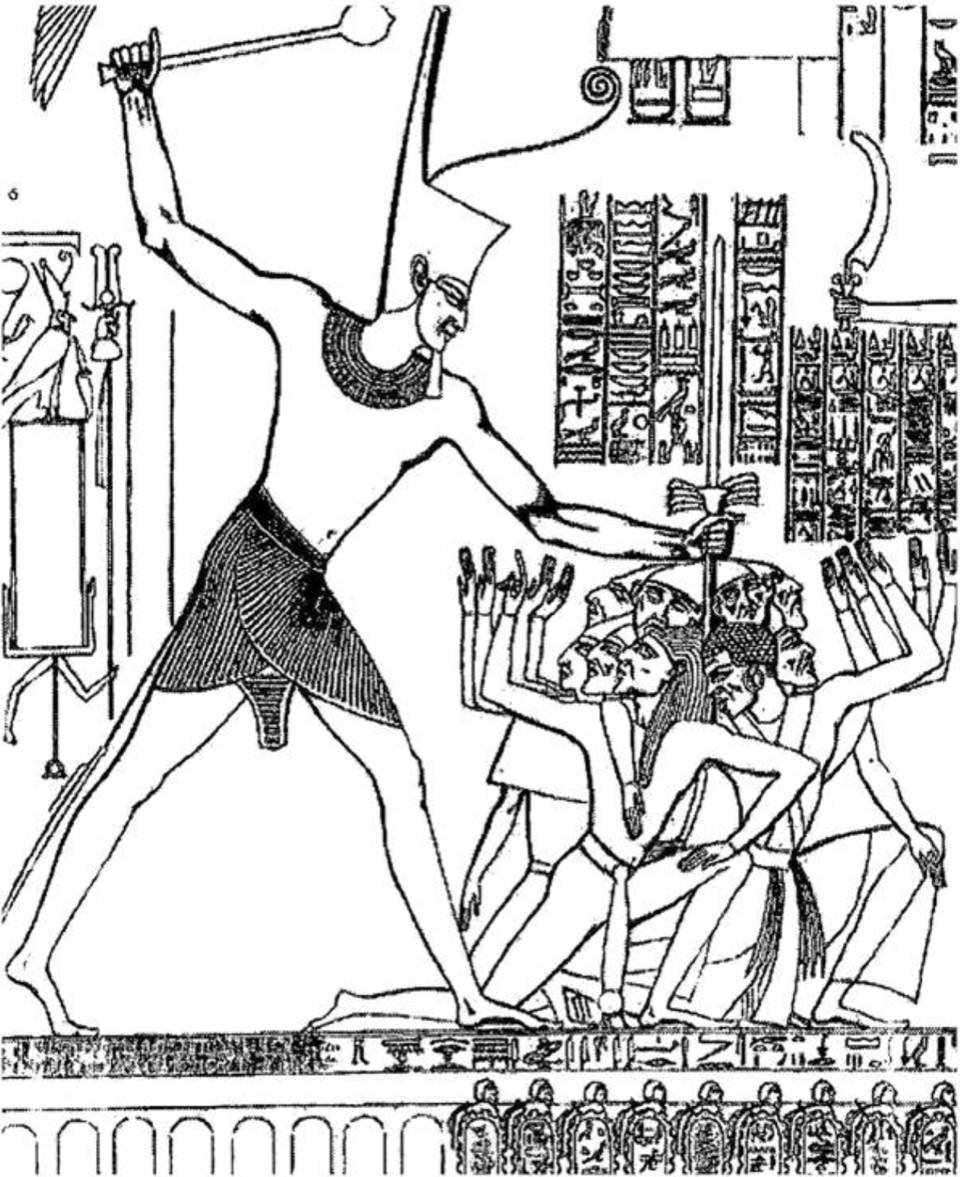 is there any evidence in egyptian sources for the exodus meridian 13 Century Sighn relief of seti i 13th c bce with raised right hand shattering the heads of his enemies hypostyle hall at karnak xvi