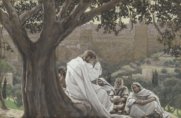 02.Tissot-Brooklyn-Jesus and Disciples on Mount of Olives-